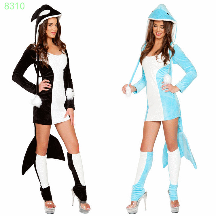 Sexy Dolphin Black Blue Costume Animal , Exclusive , Furry