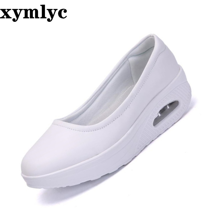 2019 nurse shoes breathable thick bottom increased flat shoes summer casual shallow mouth round Set of feet single shoes leather(China)