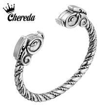 Chereda Hiphop Horse Punk Men Bangle Slavic Viking Ancient Bracelets Party Bangles Delicate Jewelry(China)