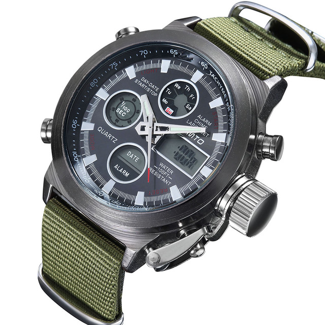 GIMTO Military Quartz Sport Watches For Men Analog Digital Nylon Watch Men Clock
