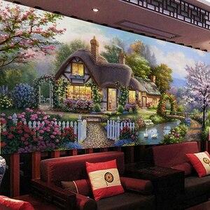 Image 2 - QIANZEHUI, Рукоделие, сделай сам, пейзаж, вышивка крестиком, садовый домик, мечта, дом, вышивка крестиком, наборы для вышивки