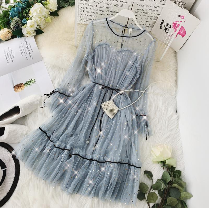 HISUMA spring autumn new women Star sequins gauze flare sleeve lace-up Princess dress female elegant o-neck mesh puff dresses 55