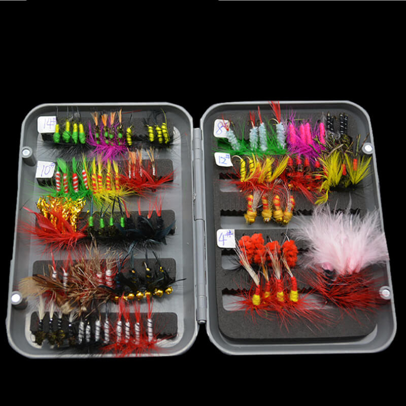 100pcs 25 types Assortment Trout Fishing Flies Lures Baits Hooks for sale UK Wet Dry Nymph Buzzers Satwater Freshwater Bionic