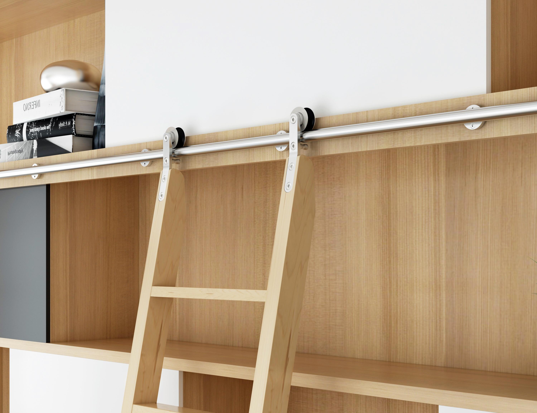 koupit schody do knihovny - DIYHD Stainless Steel Sliding Library Ladder Hardware Rolling Ladder Track(No ladder)