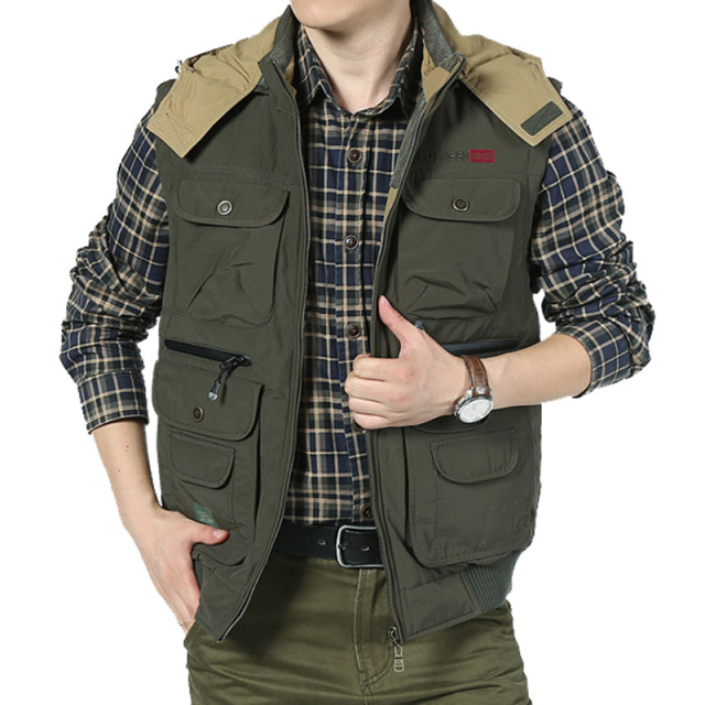 Men's Vest Casual With Two Colors Cotton Thick Vest Regular Solid Sleeveless Plus Large Size 3XL Outerwear Jeackets Zipper Vest