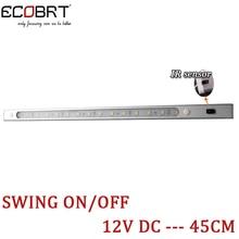 Modern 12V 45cm long Linear LED Cabinet Light with IR Sensor Swing On / Off Switch Aluminum Kitchen Decor Lighting fixtures