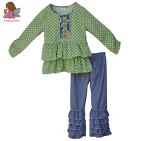 Wholesale 100 Cotton Baby Girl Mustard Pie Remake Fall Boutique Girl Clothing Green Polk Dots