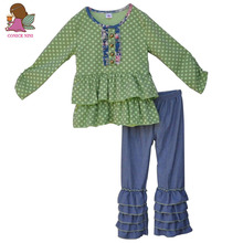 Wholesale Cotton Newborn Baby Mustard Pie Remake Fall Boutique Outfits Girl Clothing Polk Dots Top Multi Ruffle Pant Sets F002