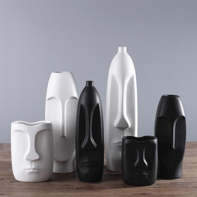 1pc Minimalism Abstract Head Shape Ceramic Vase Modern Arts Black