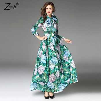 High Quality Boho Women 's Runway Hydrangea Green Leaves Flower Print Draped Dress O-neck Long Sleeve Maxi Dress with Belt