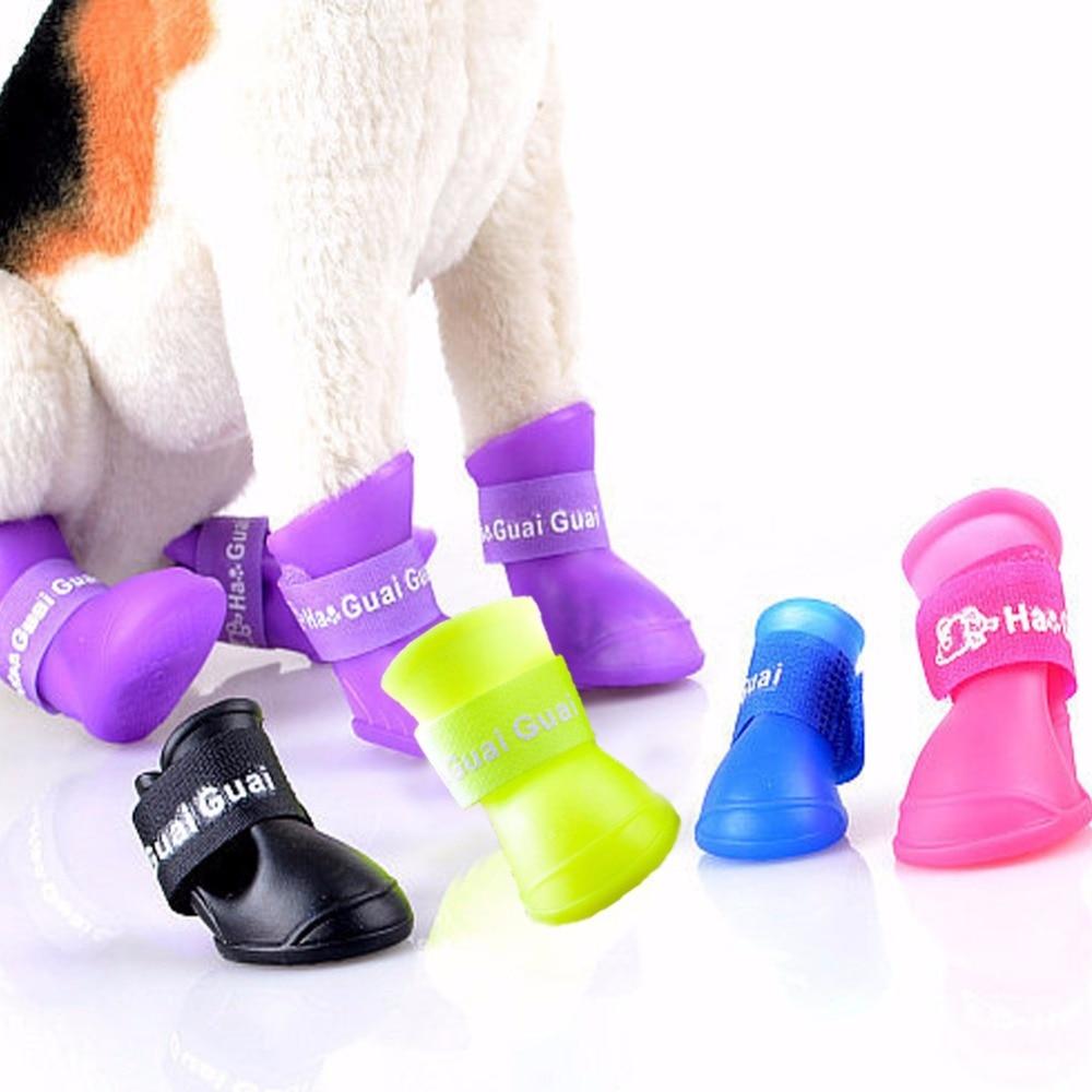 4pcs/set Hot Sell Dog Cat Puppy Shoes Pet Waterproof Shoes Anti Slip Design Teddy Rain Boots Shoes Pet Outdoor Shoes 8 color