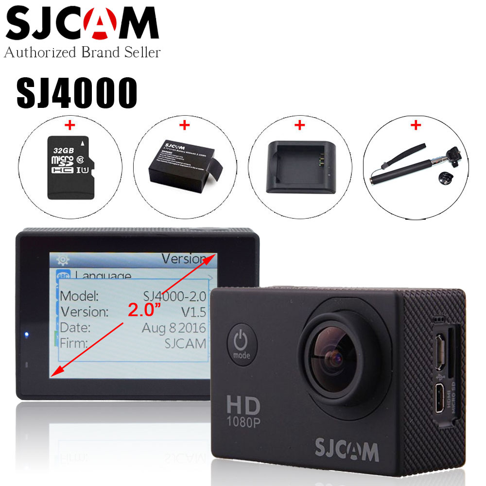Original SJCAM SJ4000 Action Video Camera Waterproof 30m Diving SJ CAM 4000 Basic Sport DV 1080P Full HD Mini Helmet Camcorder купить