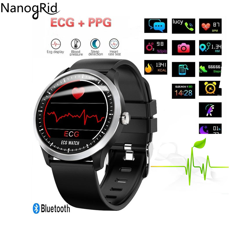 N58 ECG PPG smart watch avec électrocardiographe ecg affichage holter ecg moniteur de fréquence cardiaque sang pression smartwatch sport Fitnes