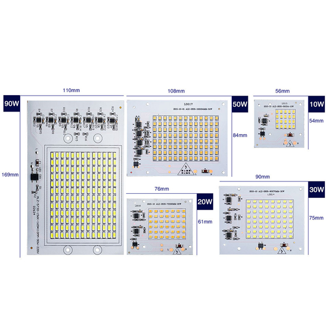 SMD LED Light Beads High Power Chip AC 220V 10W 20W 30W 50W 90W DIY Floodlight Square Garden Lighting Lamp