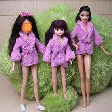 Doll Accessory Purple Plush Bathrobe For Barbie Bathroom Winter Pajama Sleeping Wear Casual Clothes For Barbie Doll House Toy