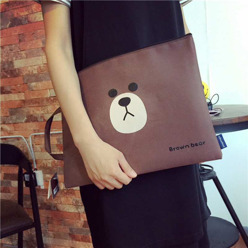 1 PCS Kawaii Bear File Folder For Documents Bag Big Capacity A4 Oxford Filing Products For Storage Papers Stationery Padfolio