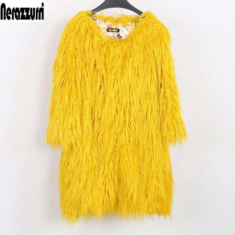 Nerazzurri Winter jacket women 2019 faux fur coat o neck yellow blue Fashion hairy large sizes