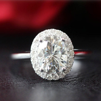 14K White Gold 7x9mm 2.0ct Oval Cut Moissanite Ring Unique Wedding Ring Set Halo Diamond Moissanite Engagement Ring