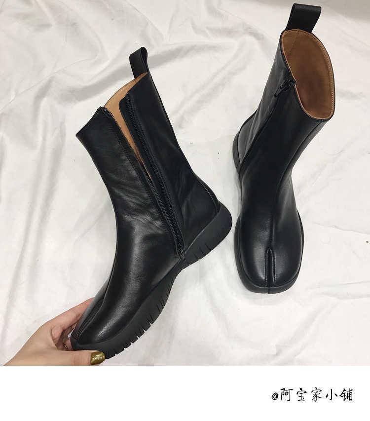 83f3906f56 Genuine Leather Split toe Women Ankle Boots Casual Flats Platform Rain  Boots Side Zip Fashion Catwalk Fall Botas Mujer 2018