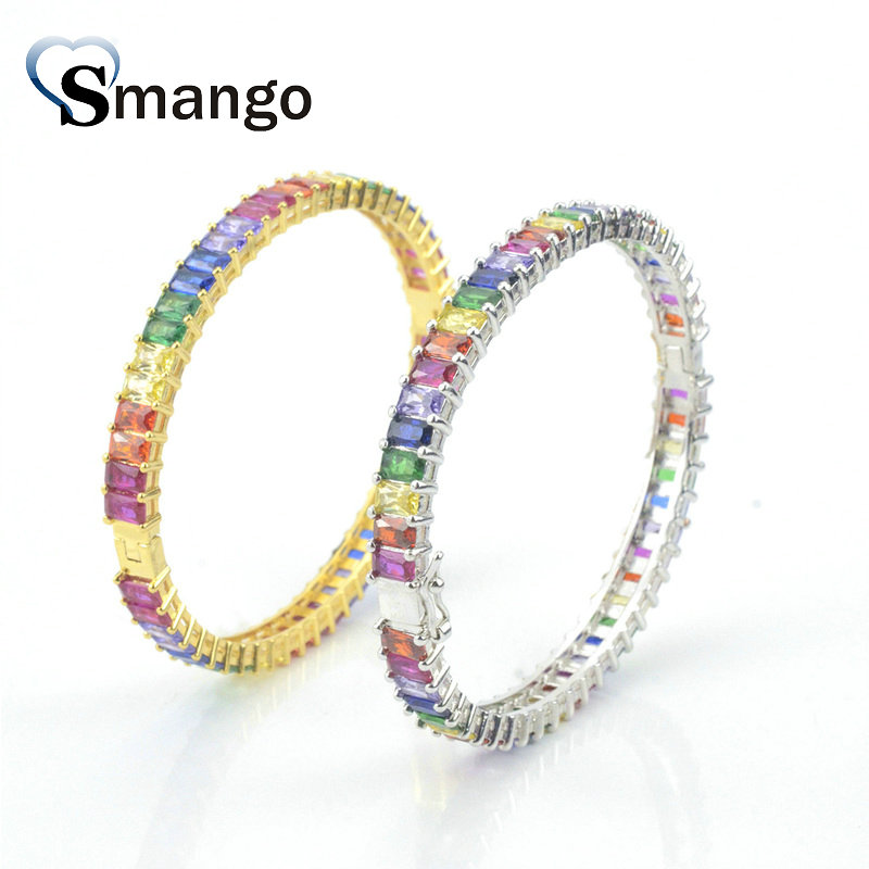 3Pieces 2019 New Arrival The Rainbow Series Women Fashion Bangle 2 colors Can Wholesale in Chain Link Bracelets from Jewelry Accessories