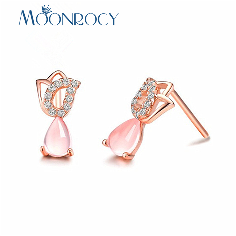 MOONROCY Rose Gold Color Cubic Zirconia Ross Quartz Cute Tulips Flower Pink Opal CZ Earrings for Women Girls Drop Shipping
