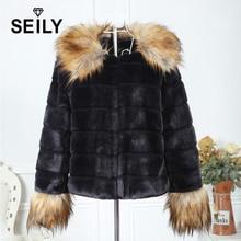 цена на Seily Winter Fake Raccoon Dog Fur Trim Collar Long Hair Sleeve Fluffy Jacket Faux Black Rabbit Fur Furry Coat  Women Cardigan
