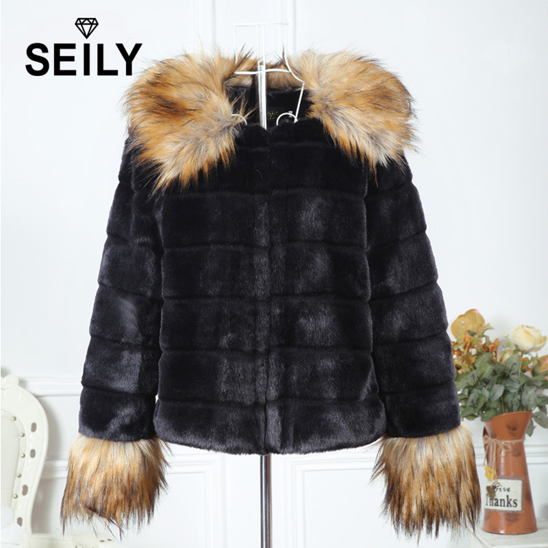 Seily Winter Fake Raccoon Dog Fur Trim Collar Long Hair Sleeve Fluffy Jacket Faux Black Rabbit Fur Furry Coat Women Cardigan