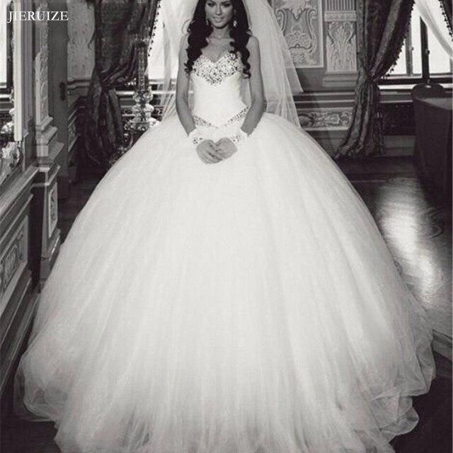 JIERUIZE Cristais vestido de Baile Vestidos de Casamento de Luxo Querida Lace Up Voltar Vestidos de Casamento Vestido de Noiva robe de mariee