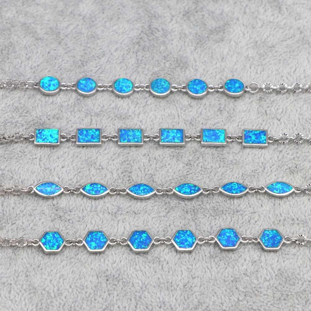 SZ0113  2018 new design blue fire opal simple geometric k-shaped bracelet female bracelet wholesale fashion jewelry gift