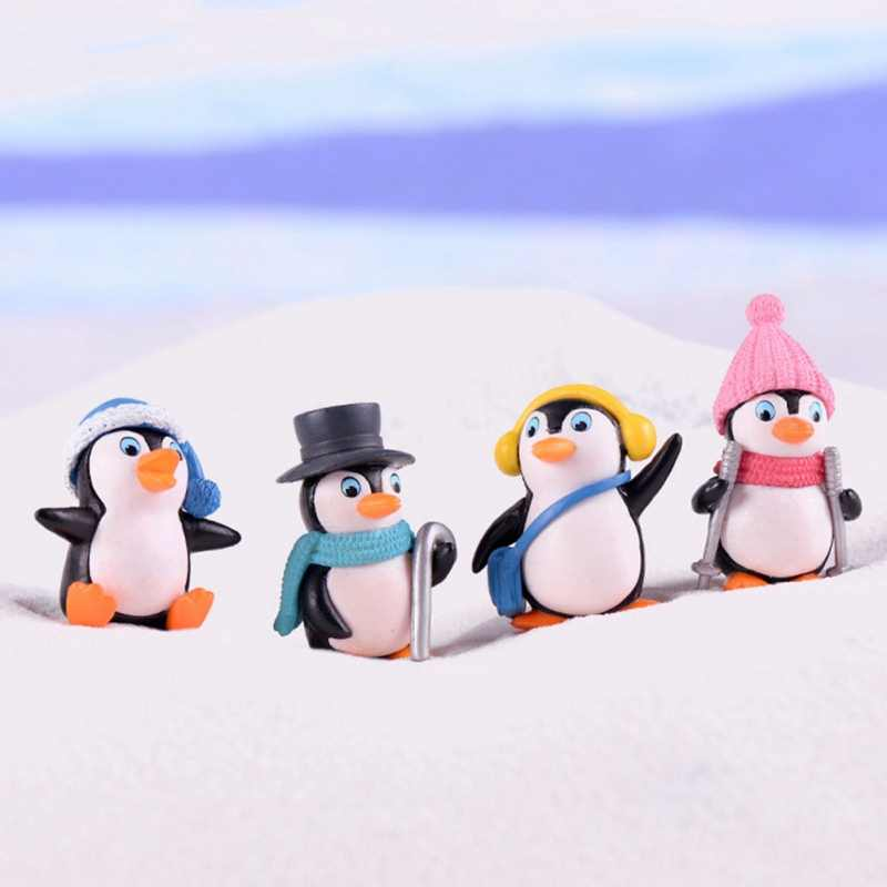 4PCS Moss Micro Landscape Decoration Winter Penguin Doll Home Decor Figurines Miniatures home decoration accessories cute