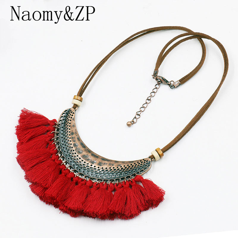 Naomy&ZP Tassel Necklace For Women Big Ethnic Necklace