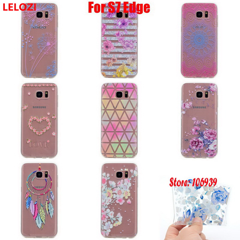 LELOZI Soft Transparent TPU Clear Silicone Fundas Coque Case Cover For Samsung Galaxy S7 Edge Dandelion Love Wind catcher Blue