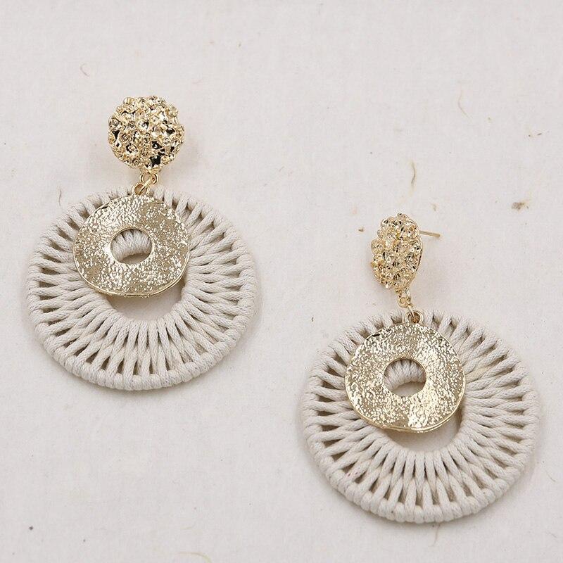 Ouro cor rattan brincos para mulher artesanal redondo crochê brinco martelado vintage earing pendientes statement jóias