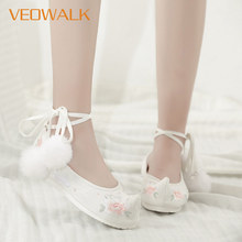 Veowalk, zapatos Hanfu de tela de algodón bordada para mujer, plataformas, correa de tobillo, disfraz cómodo Vintage para mujer, bailarinas de Ballet