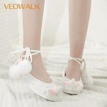 Veowalk chaussures Hanfu pour femmes, en coton, plateformes brodées, sangle à la cheville, de Costume Vintage pour dames, plates formes de danse confortables, plates formes plates de Ballet