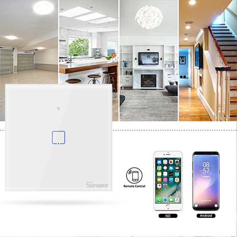 Oryginalny Sonoff T1 UK/EU Standard 1/2/3 gang WiFi przełączniki ścienne eWeLink pilot zdalnego sterowania współpracuje z Alexa Google domu