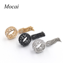 Mochai Обручальное Кольцо для Женщин Обручальное кольцо Циркон Золотой Цвет Кристалл Длинные Кисточкой Кольца для Женщин ZK33