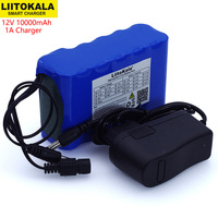 Liitokala 12V 10Ah 18650 li lon battery pack 10000mAh with BMS Circuit Protection Board DC 5.5*2.1mm+ 12.6V 1A Charger