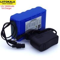 Liitokala 12V 10Ah 18650 li lon battery pack 10000mAh with BMS Circuit Protection Board DC 5.5*2.1mm+ 12.6V 1A Charger