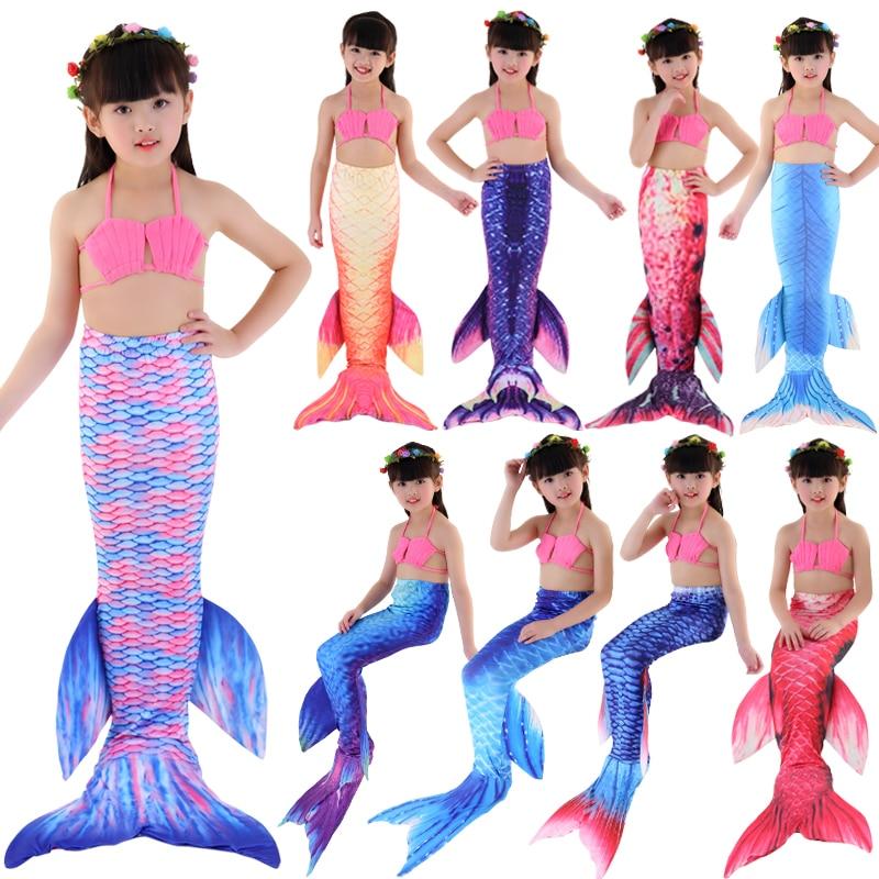 Free shipping Summer Girl Kids Mermaid Tail Swimmable Swimwear Swimsuit Bikini Set Bathing Suit Princess Fancy Costume 3-12Y