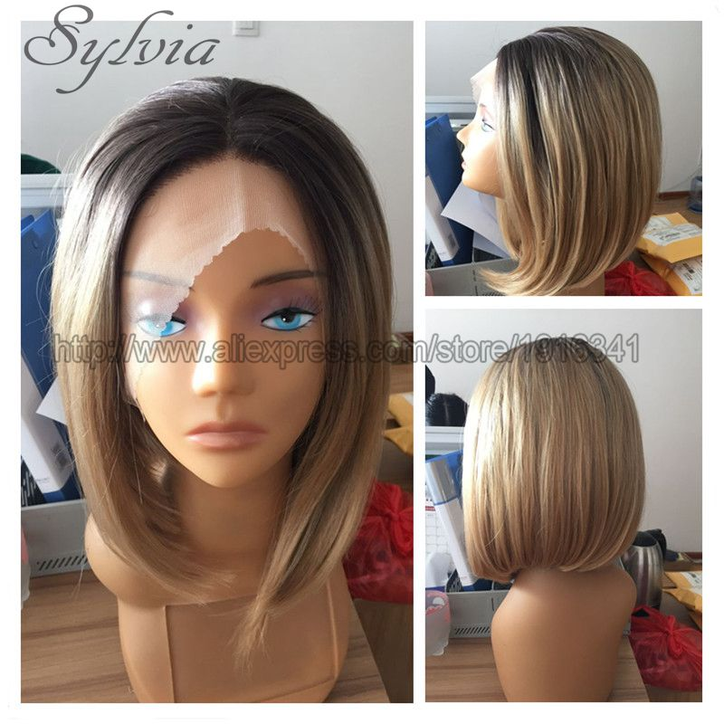 Kylie Jenner Ombre Short Bob Hair Wig Blonde Short Haircut Synthetic