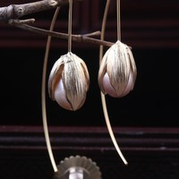 New Arrival High Quality Freshwater Baroque Pearl Dropping Earrings for Woman With Hand Make Gold Tulip Woman's Gift
