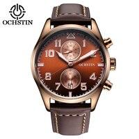 2017 Hạn Chế Ochstin Mens Đồng Hồ Luxury Brand Watch Men Da Thật Dây Đeo Nam Quartz Cổ Tay Nam Relogio Relojes Đồng H