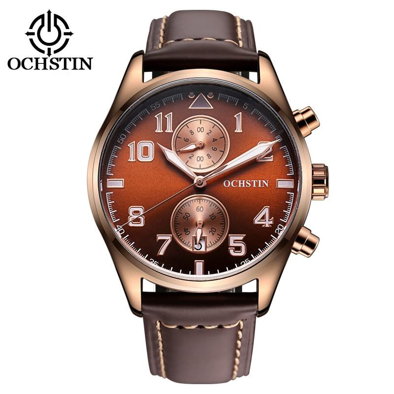 2017 limited ochstin mens watches luxury brand watch men genuine leather strap men 39 s quartz for Men gradient leather strap