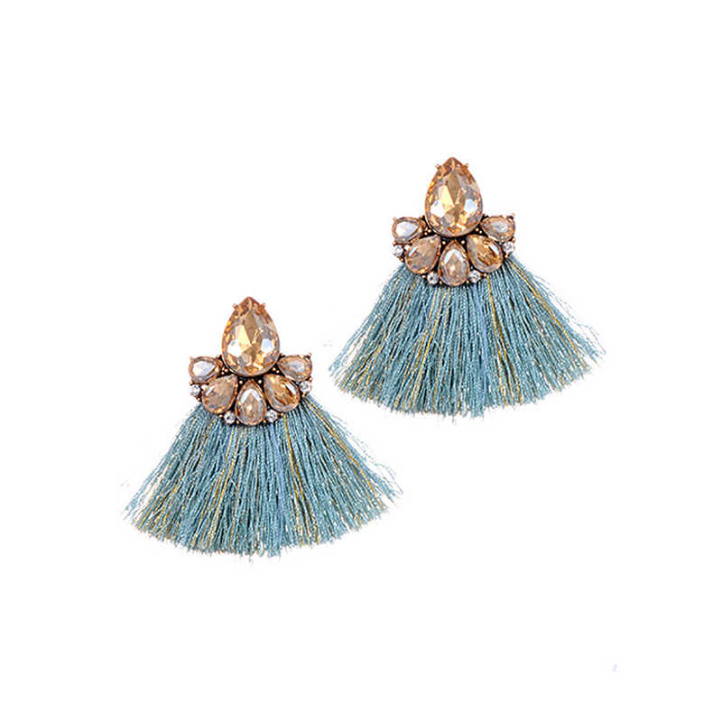 ZHINI Fashion Style Jewelry Hot Sale Cheap Tiny Fringed Wedding Small Tassel Earrings for Women 6 Colors Statement Drop Earrings