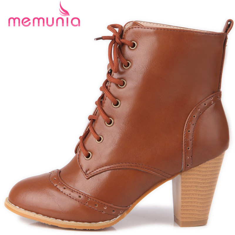 MEMUNIA 2018 new ankle boots simple high heels women boots autumn winter fashion round toe boots big size shoes 33-48