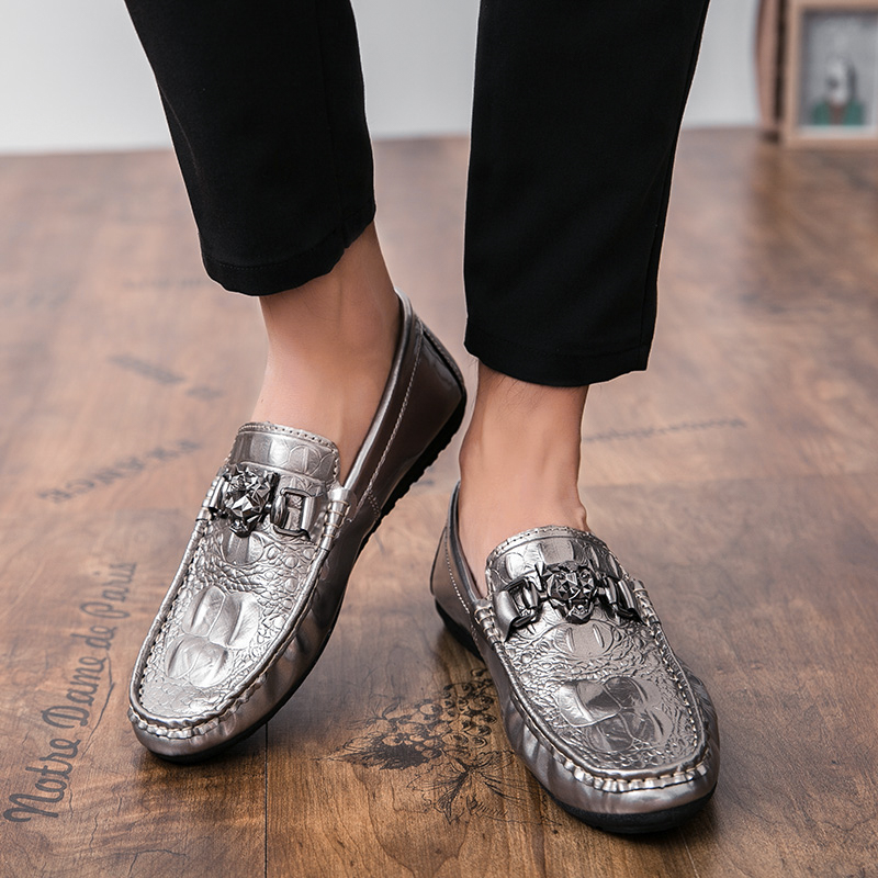 2018 New Fashion Brand Men Leather Casual Shoes Slip On Male Loafers Black Comfortable Footwear Non-slip Mens Rubber Shoes Sales 5