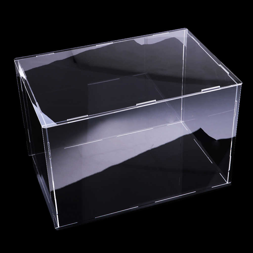 40x30x30cm Acrylic Display Case, Black Gloss Base, Dustproof, Assembled Box