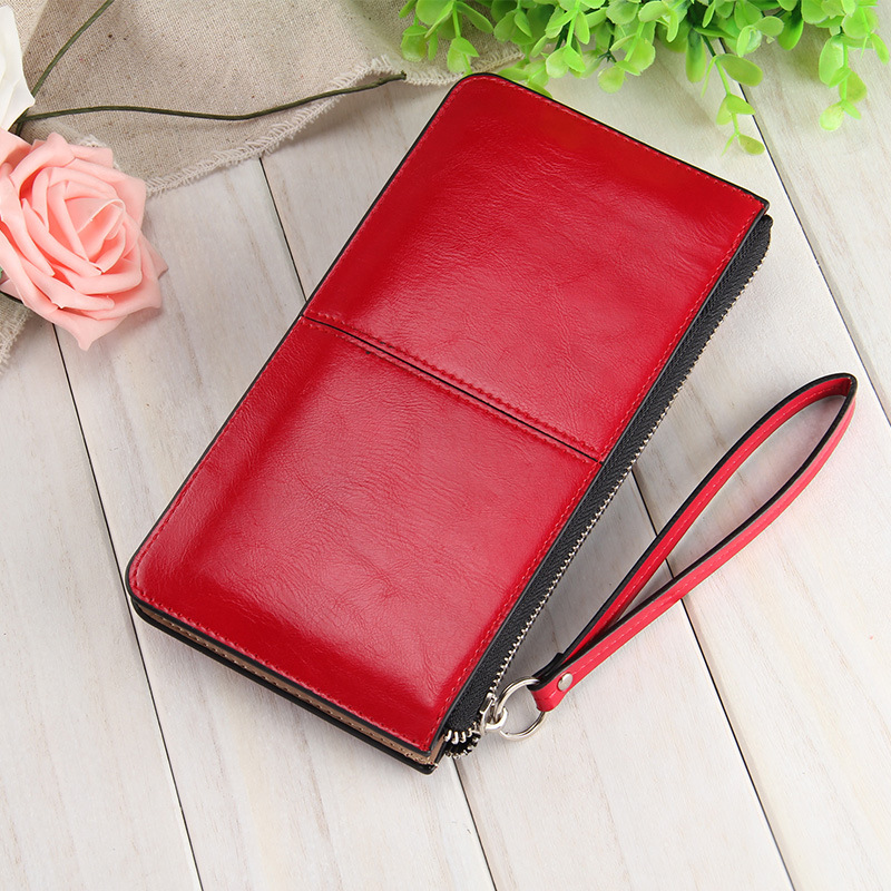 Famous brand Oil wax leather Women clutch wallet Long zipper wallets female candy color purse lady Multi-function phone bag 2016 new women wallets famous brand design pu leather wallet female zipper
