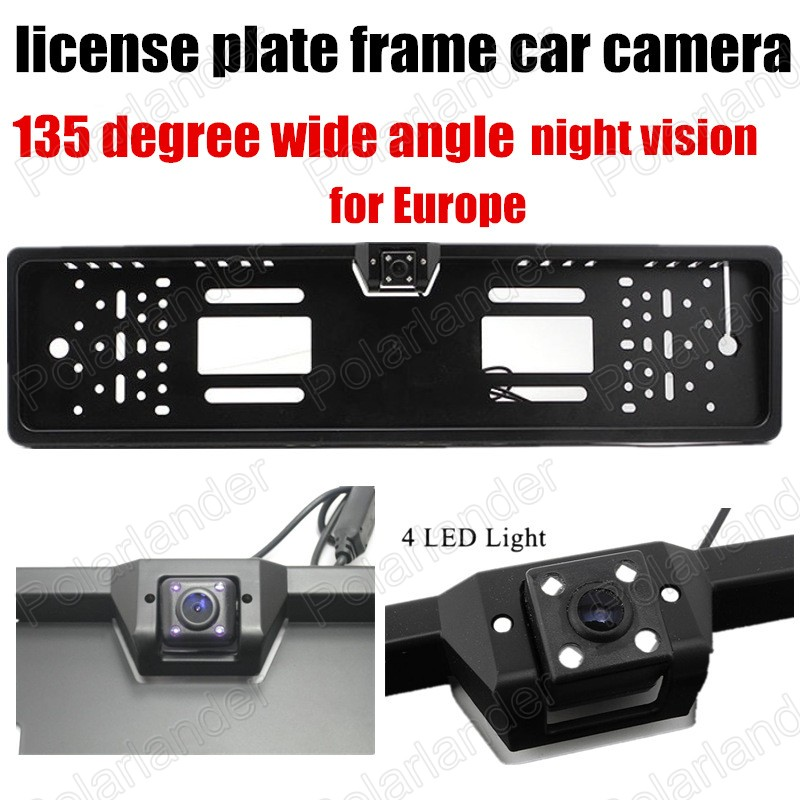 Free shipping 4LED HD CCD Universal European Car License ...